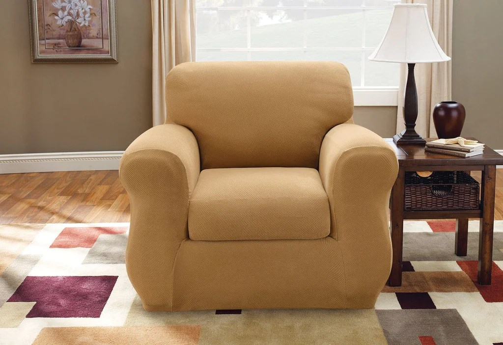 patio chair with ottoman canada spa chairs stretch pique three piece back cushion slipcover – surefit