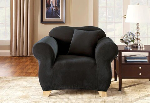 living room slipcovers antique furniture chair covers surefit stretch pique one piece slipcover