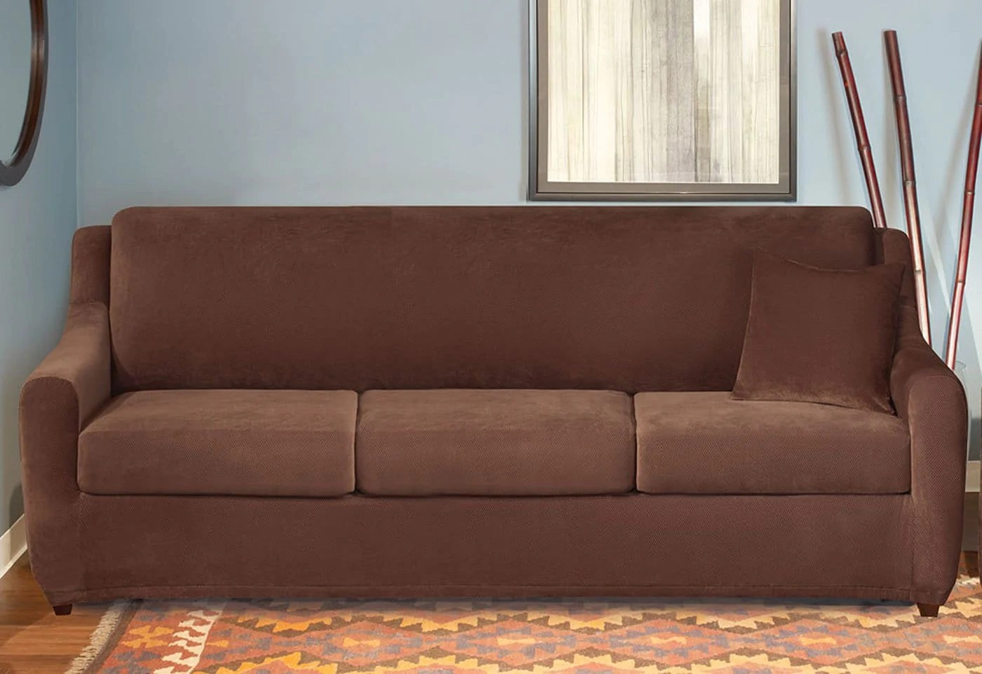 sure fit stretch pearson 3 pc sleeper sofa slipcover full do fleas live in sofas pique four piece seat surefit