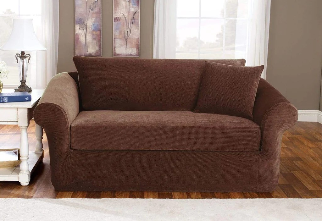 Stretch Pique Three Piece With Back Cushion Sofa Slipcover  SureFit