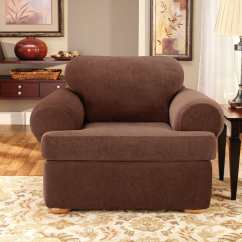 Living Room Chair Slipcovers Small Design Ideas Philippines Stretch Pique Three Piece Loveseat Slipcover Surefit With Back Cushion
