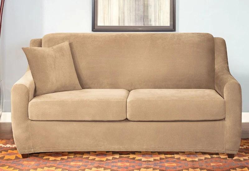 sure fit stretch pearson 3 pc sleeper sofa slipcover full moroni colton pique three piece size 60 surefit