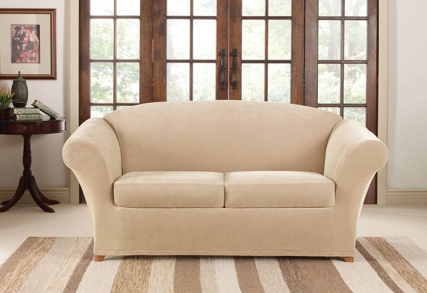sure fit stretch pique 3 piece t cushion sofa slipcover bed folding mechanism three loveseat surefit