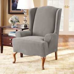 Gray Chair Slipcover Painting Plastic Chairs With Chalk Paint Stretch Pique One Piece Wing Surefit