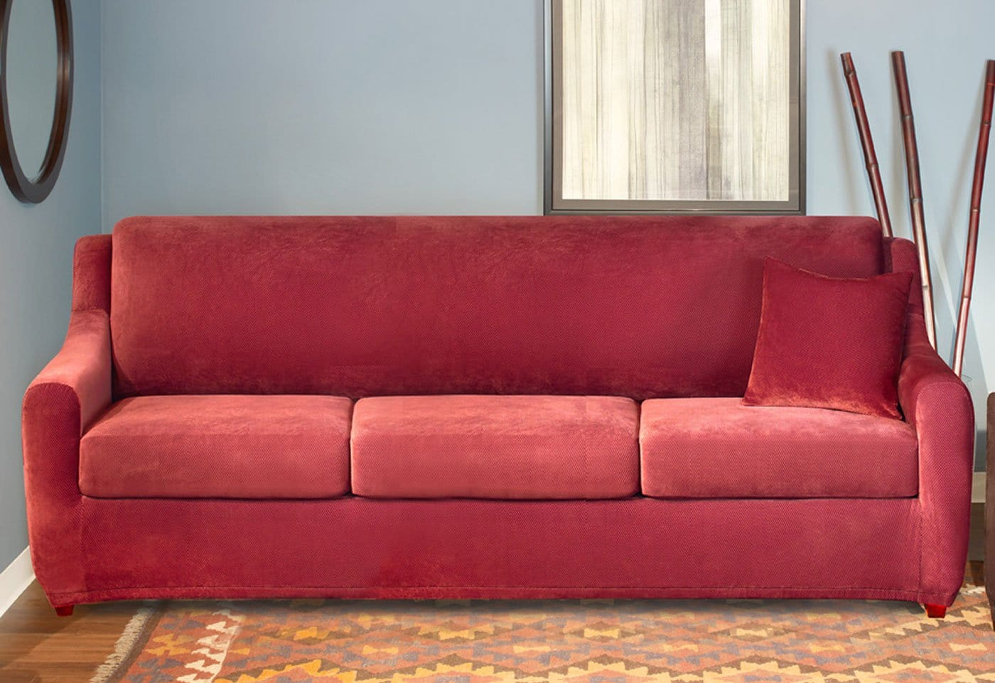 sure fit stretch pearson 3 pc sleeper sofa slipcover full chaise longue bed canada pique four piece seat surefit