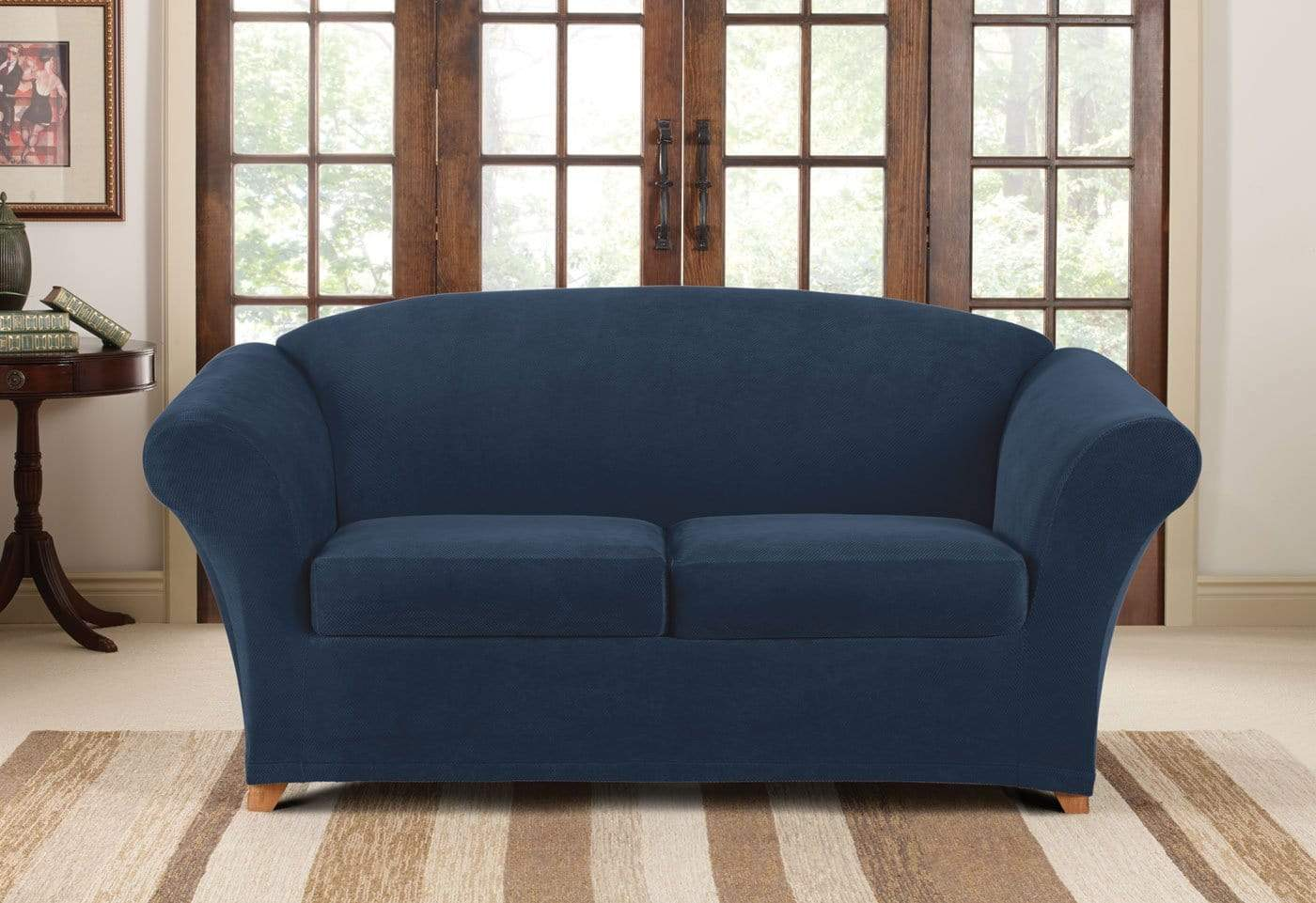 sure fit stretch pique 3 piece t cushion sofa slipcover full grain leather recliner three loveseat surefit