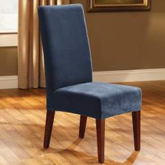 Navy Dining Room Chair Covers Custom Mats For Carpet Stretch Pique Short Slipcover  Surefit