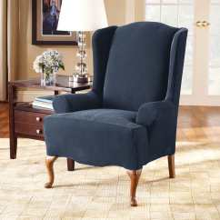 Blue Wingback Chair Slipcovers Kids Lounge Stretch Pique One Piece Wing Slipcover Surefit