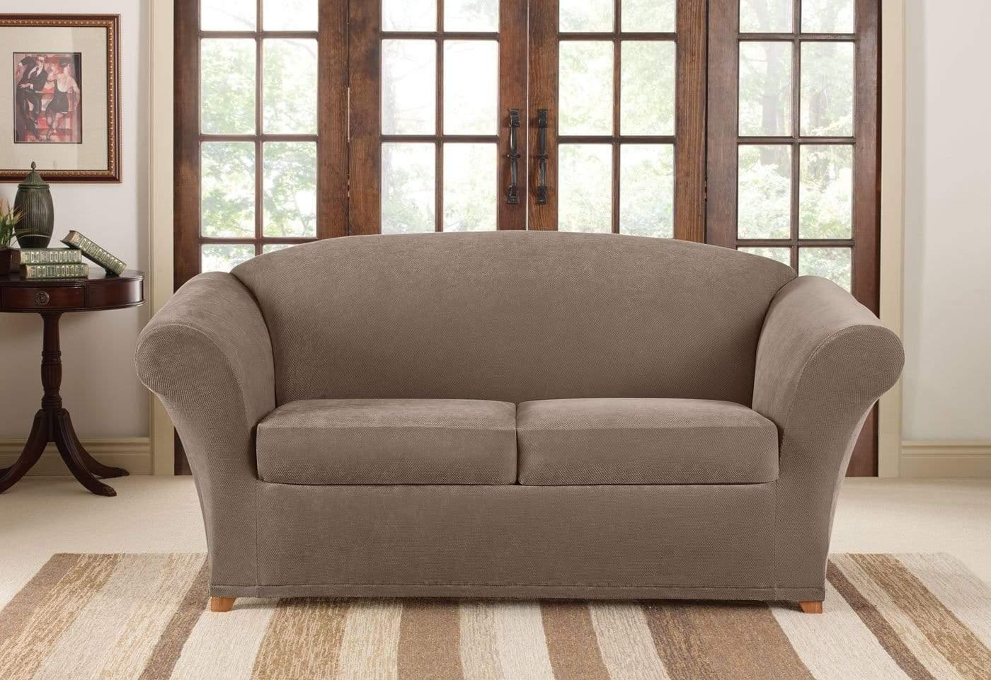 durham one piece sofa slipcover leather bed argos stretch pique three loveseat surefit