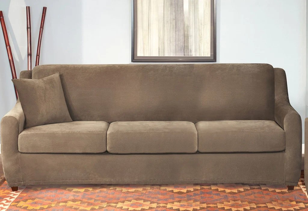sectional with sleeper sofa and recliner polaris mini contemporary grey leather stretch pique four piece 3 seat slipcover ...