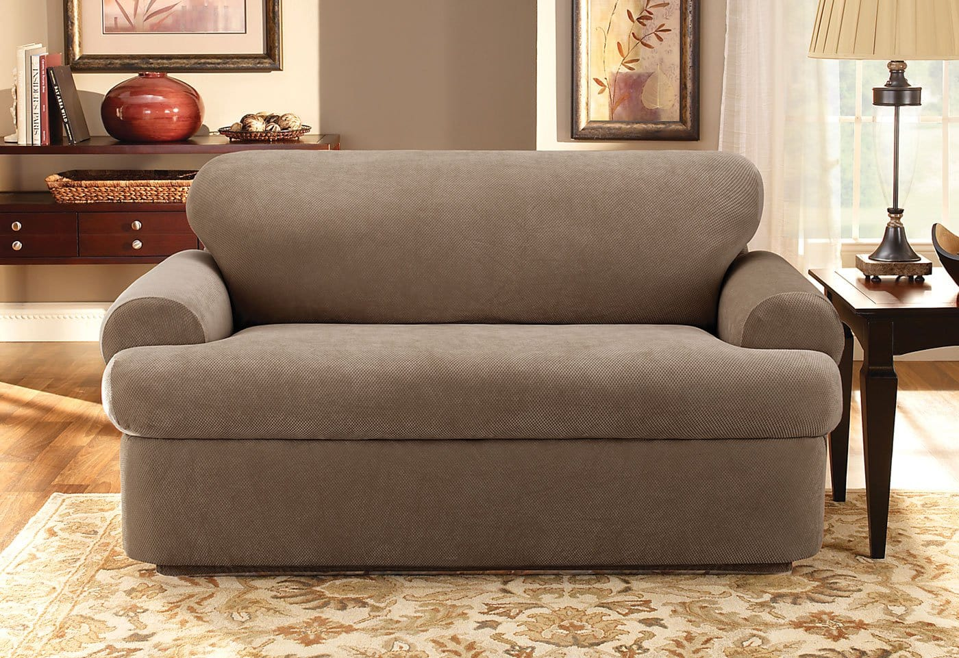 stretch 3 piece t cushion sofa slipcover two seat pique three with back loveseat