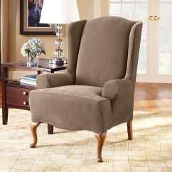 Sure Fit Wing Chair Slipcover Anna Stretch Pique One Piece Surefit