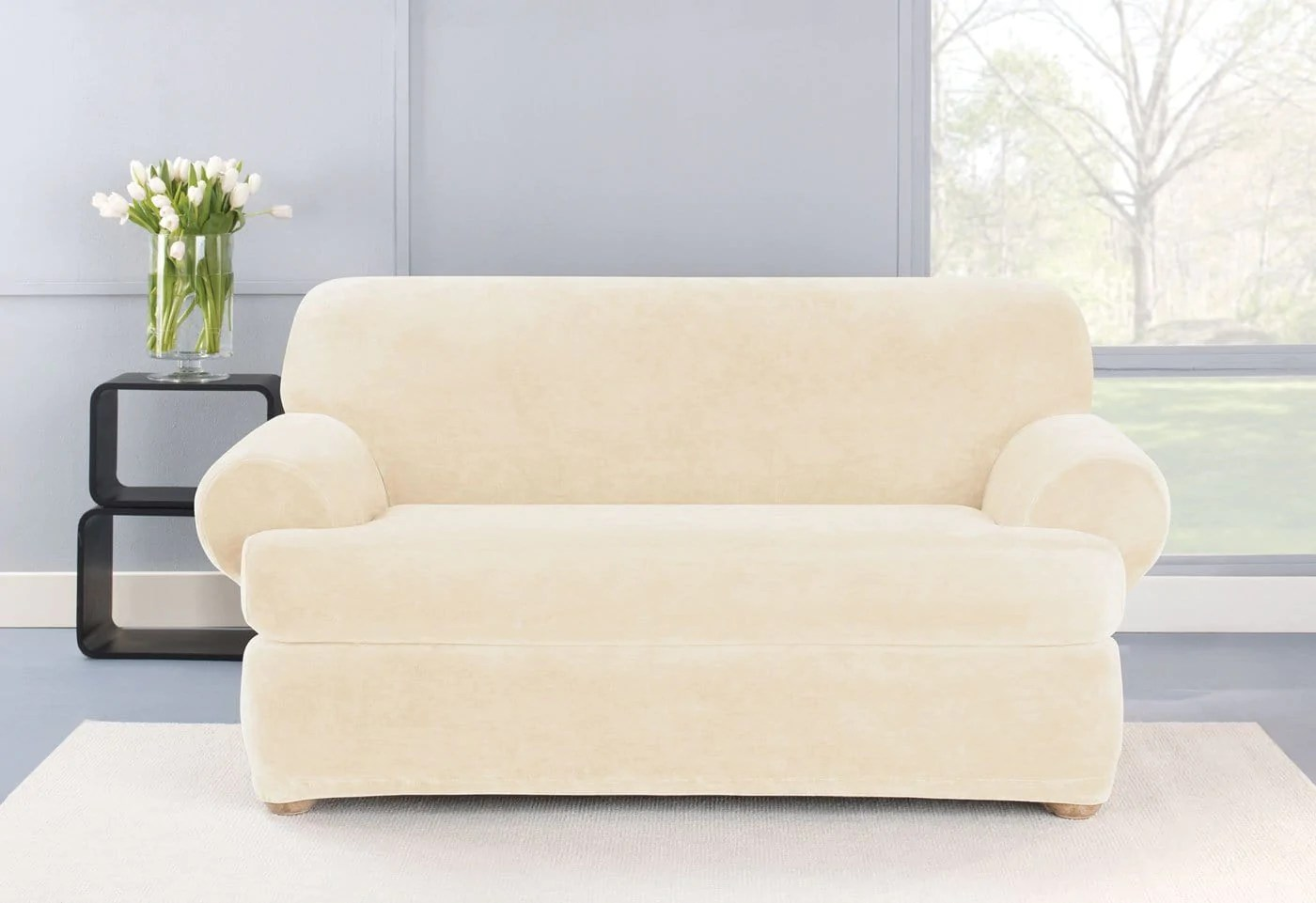 durham one piece sofa slipcover brown leather stretch plush two loveseat surefit
