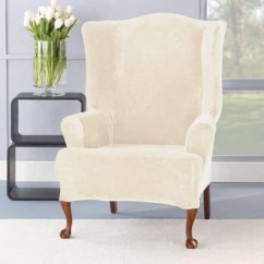 Wingback Chair Cover Mainstays Outdoor Double Rocking White Seats 2 Slipcovers Furniture Covers Surefit Stretch Plush One Piece Wing Slipcover