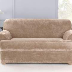 Durham One Piece Sofa Slipcover Table Between Wall And Couch Stretch Plush Two Loveseat Surefit