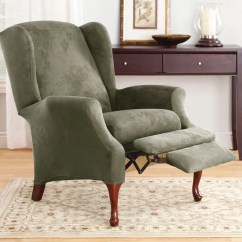 Recliner Chair Covers Green Lounge Brisbane Stretch Suede Two Piece Wing Slipcover – Surefit