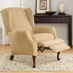 Recliner Chair Covers Pottery Barn Manhattan And Slipcovers Surefit Stretch Suede Two Piece Wing Slipcover