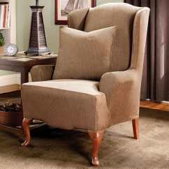 Wing Chair Covers Canada Metal Accessories Stretch Stripe One Piece Slipcover – Surefit