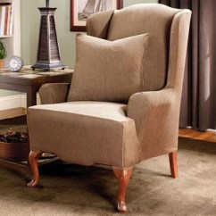 Living Room Chair Slipcovers How To Arrange Furniture In With Corner Fireplace And Tv Wingback Covers Surefit Stretch Stripe One Piece Wing Slipcover