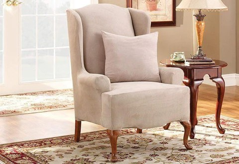 wingback chair cover hooded hair dryer with slipcovers furniture covers surefit stretch suede one piece wing slipcover