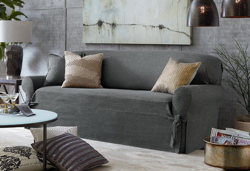 Textured Linen One Piece Sofa Slipcover  SureFit