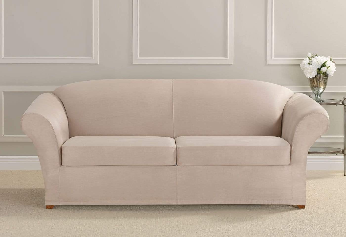 stretch morgan 1 piece sofa furniture cover high leg ultimate heavyweight suede three slipcover surefit