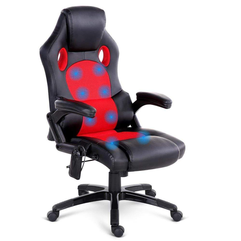Office Chair Massager 8 Point Pu Leather Reclining Heated Massage Chair Red