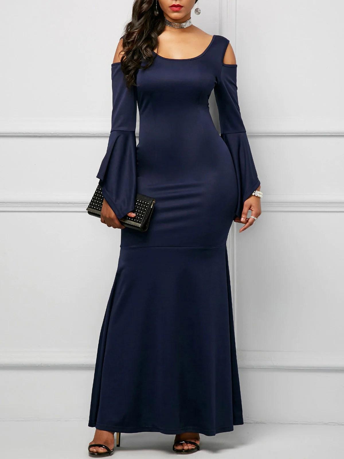 Solid Color Flare Sleeve Cold Shoulder Maxi Dress Rikkishop