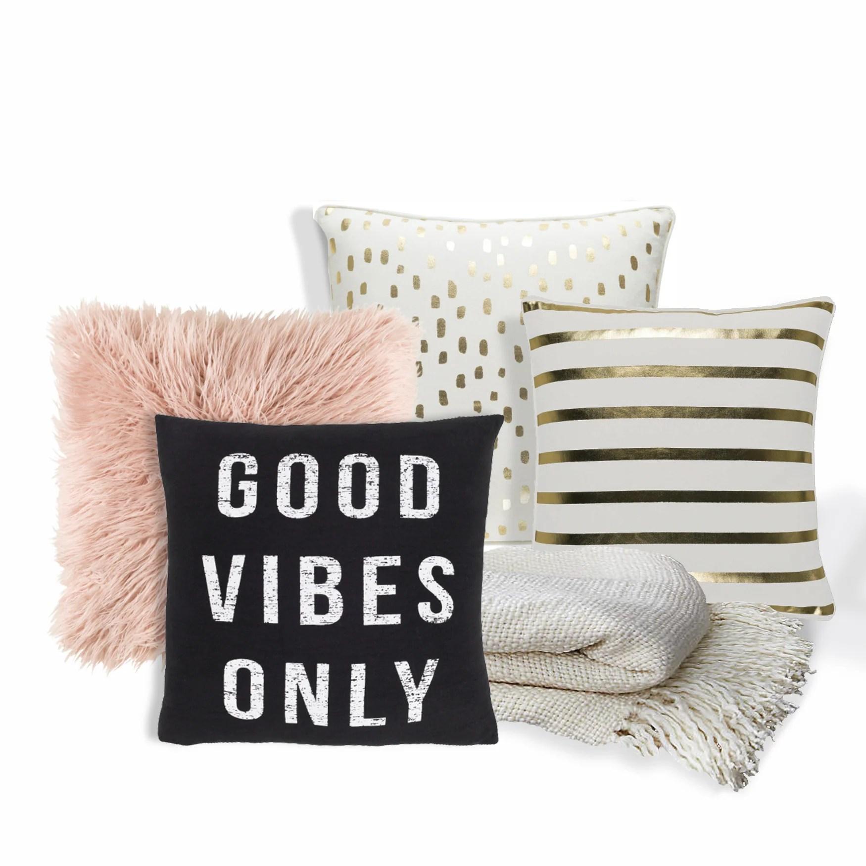 good vibes only 5pc sofa set faux fur 4 pillows throw blanket