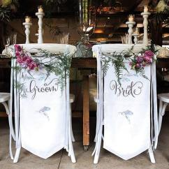 Wedding Bride And Groom Chairs Kneeling Chair Staples Canada Feather Whimsy Banner Set The Haus