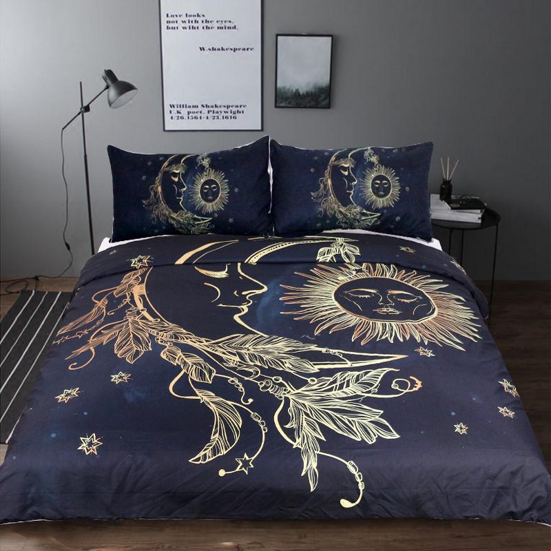 Gold Moon and Sun Duvet Set