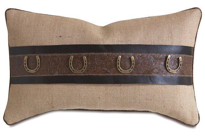 rustic burlap horseshoe lumbar pillow