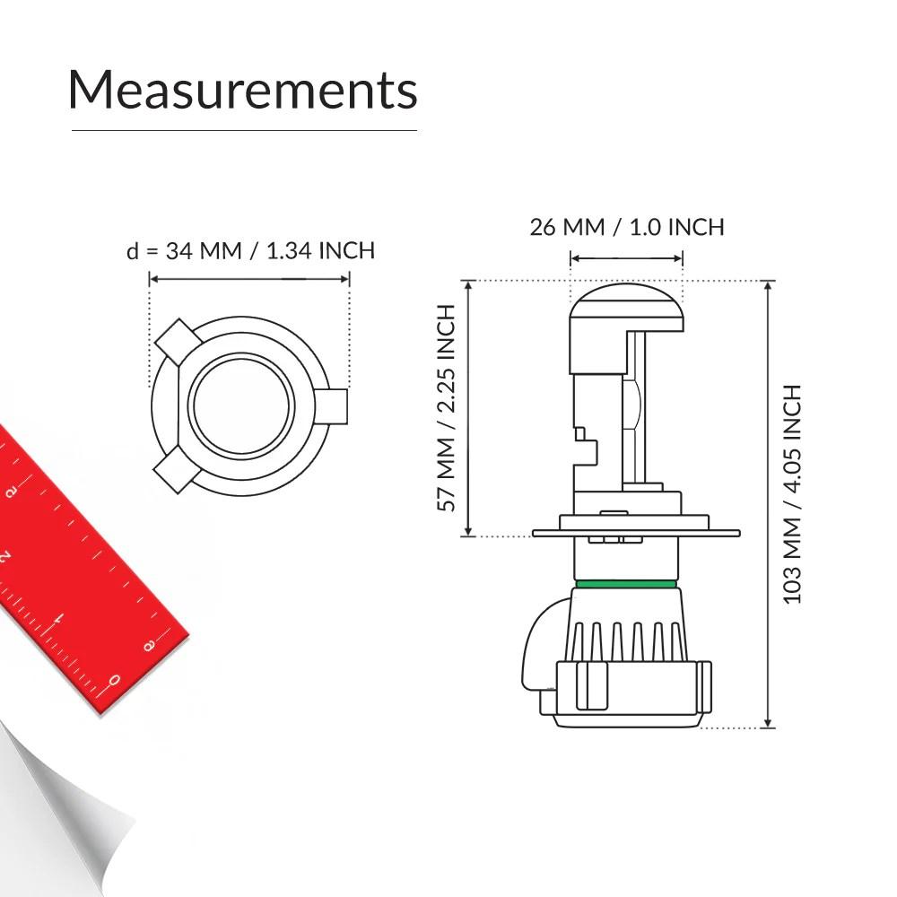 55w bi xenon hid h4 bulb size [ 1000 x 1000 Pixel ]