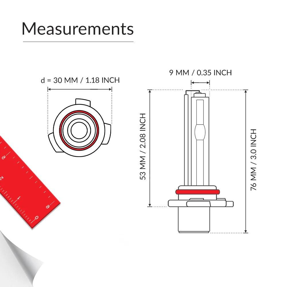 medium resolution of low beam 9006 bulb measurements