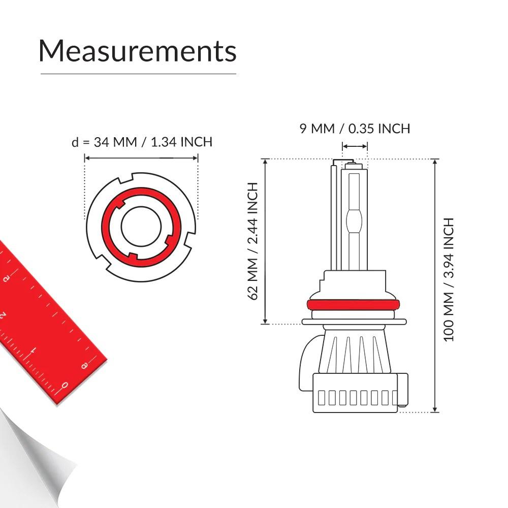small resolution of 9004 bi xenon bulbs measurements