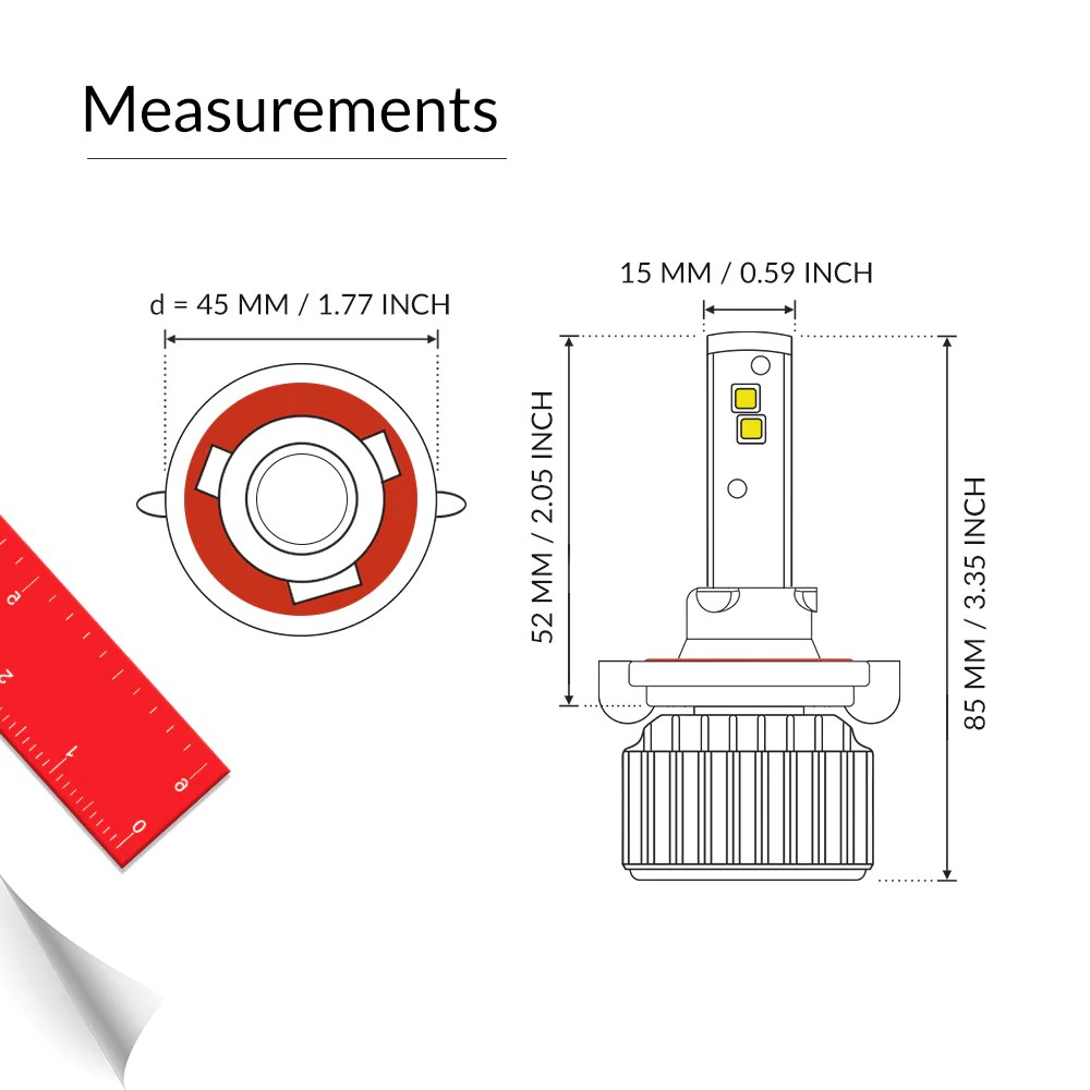 medium resolution of h13 led light bulb meausrement