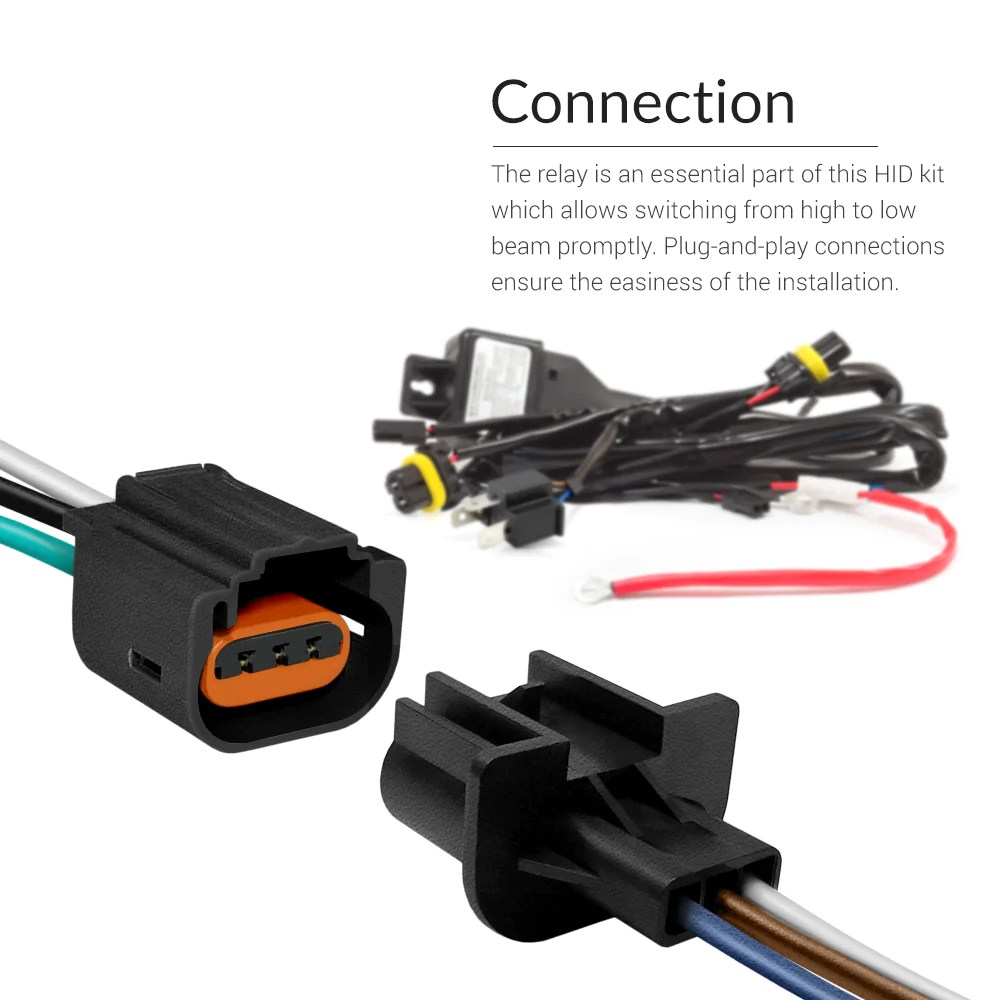 relay wiring harness fits the oem socket directly you can check dual beam bulb wiring [ 1000 x 1000 Pixel ]