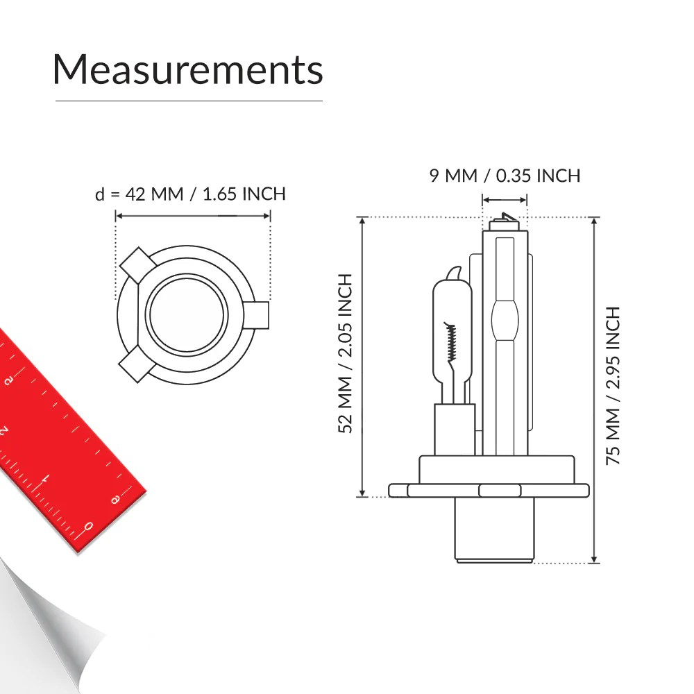 hight resolution of dual beam h4 9003 headlight bulb base measurement