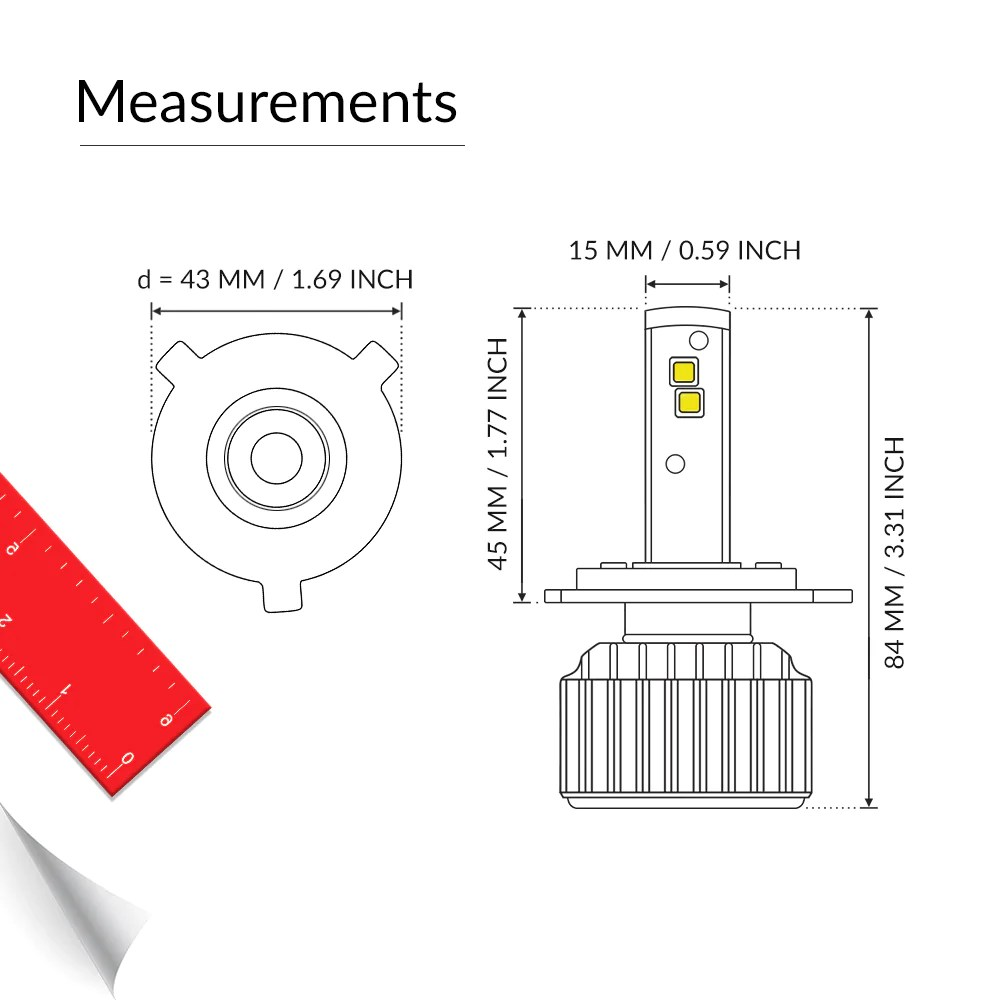 precise measurements of the led h4 bulbs [ 1000 x 1000 Pixel ]