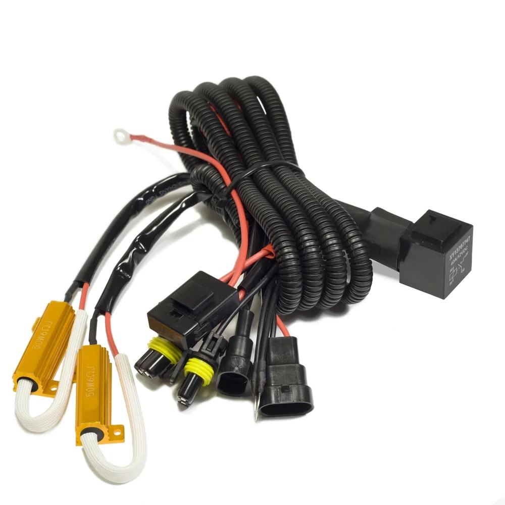 medium resolution of universal single beam relay wiring harness with load resistors wire hid ballast kit xenon h11 one harness headlight extension wiring