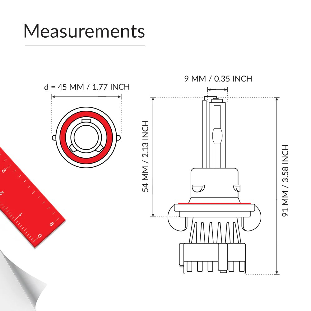 medium resolution of 55w bixenon hid bulb h13 measurement