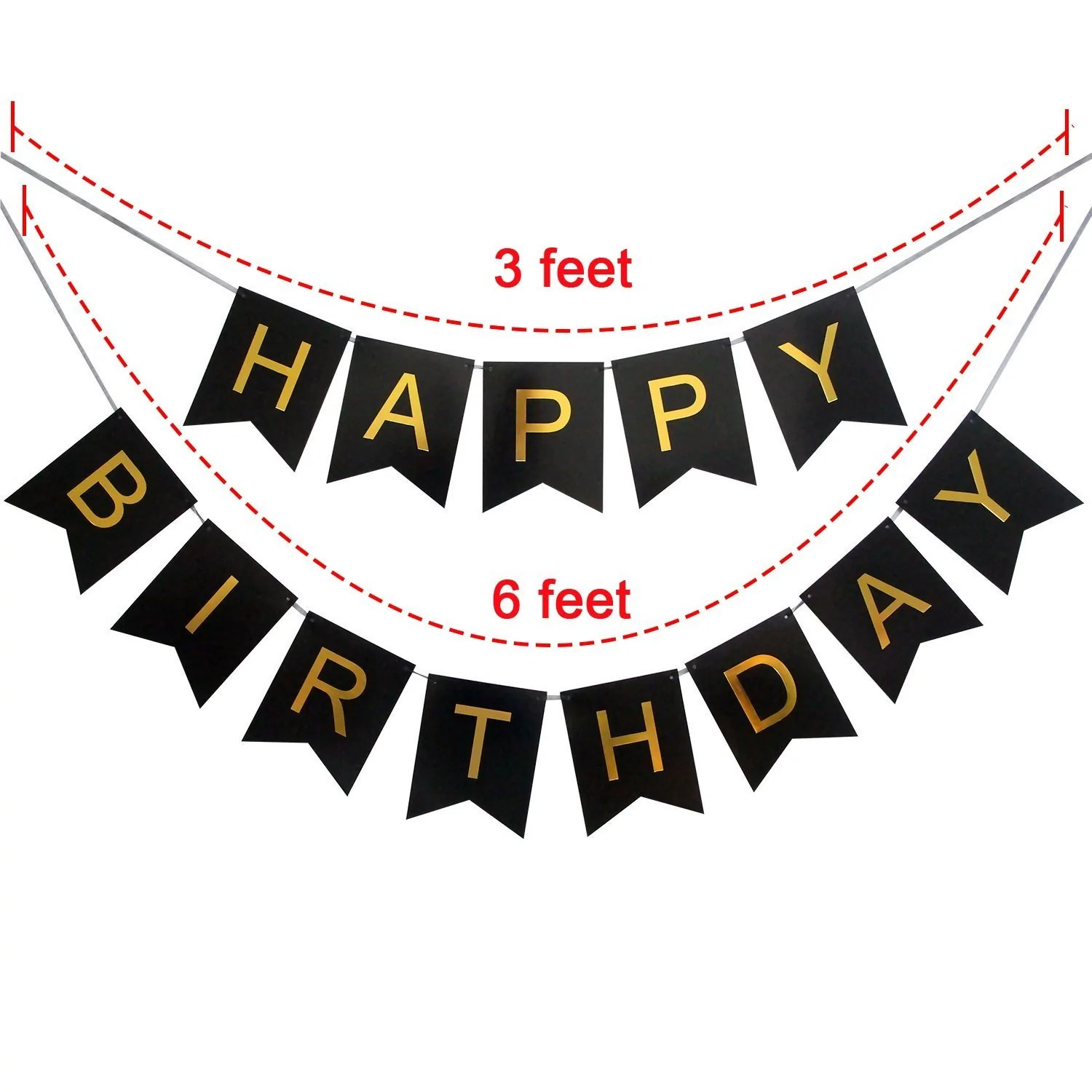 Black and White Happy Birthday Banner