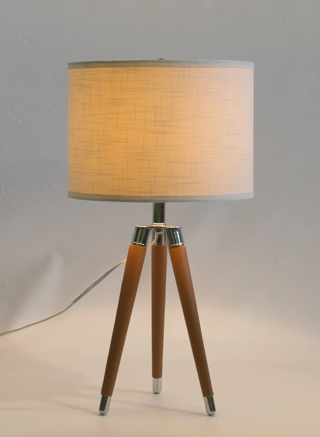 camel mid century modern tripod leather chrome table lamp with drum hardback shade [ 1057 x 1445 Pixel ]