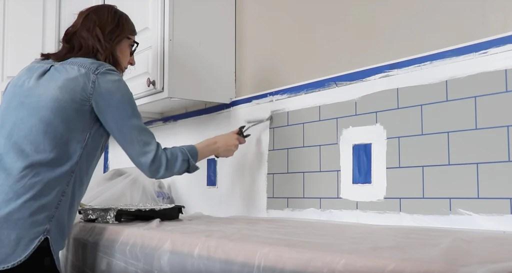 painted subway tile backsplash