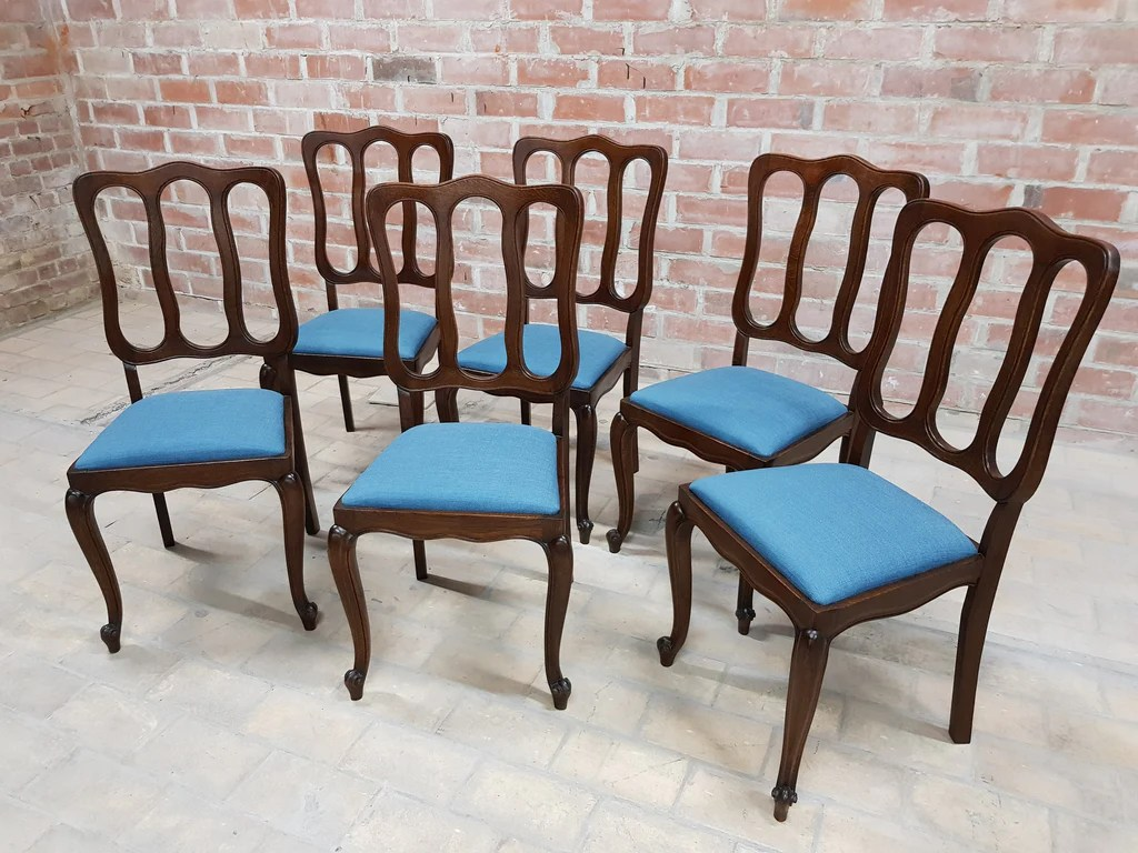 Blue Dining Chairs Set Of 6 Louis Xv Rococo Style Vintage 1950s Upholstered French Oak Blue Dining Chairs