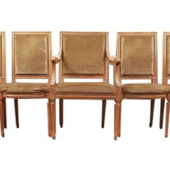 French Louis Chair Bedroom Kmart Set Of Five Xvi Square Back Vintage Dining Chairs 4 Side And 1 Armchair