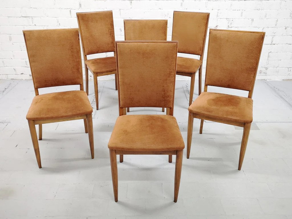 Copper Dining Chairs Set Of 6 Mid Century Modern Luxury High Back Salmon Dining Side Chairs