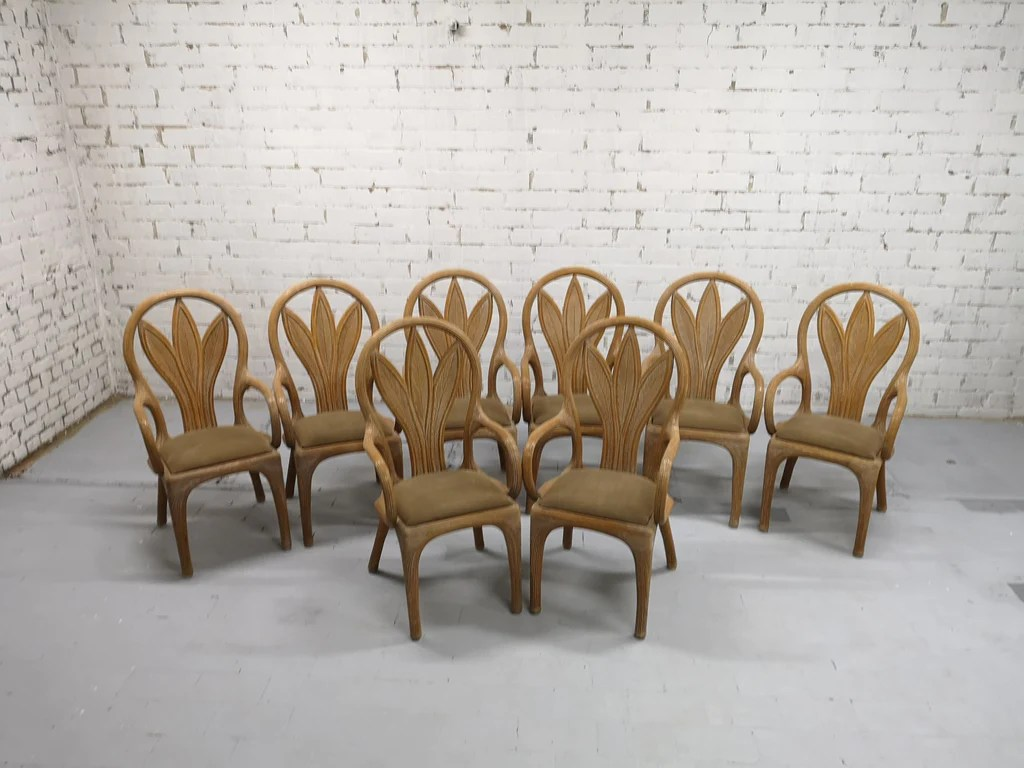 Italian Dining Chairs Set Of 8 Vintage Rattan Mid Century Art Nouveau Style Boho Chic Italian Dining Chairs