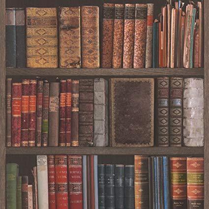 wm93480901 bookshelf wallpaper antique