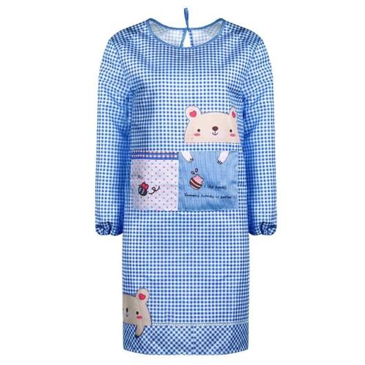cute kitchen aprons rustic islands adult women apron long sleeve 2 pocket anti oil wat waterproof bib